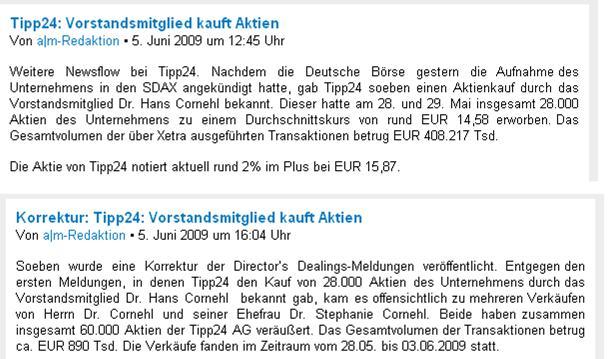 Tipp-Fehler: Die unmerkliche Korrektur des Herrn Braun vom 5.6.2009