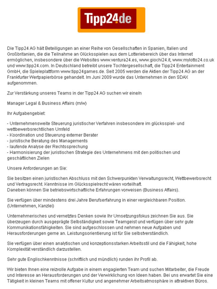 Manager Legal & Business Affairs bei der Tipp24 AG