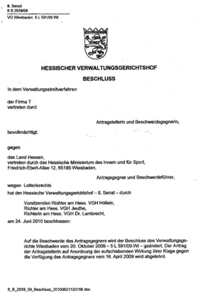 VGH Hessen 8B 2939/09